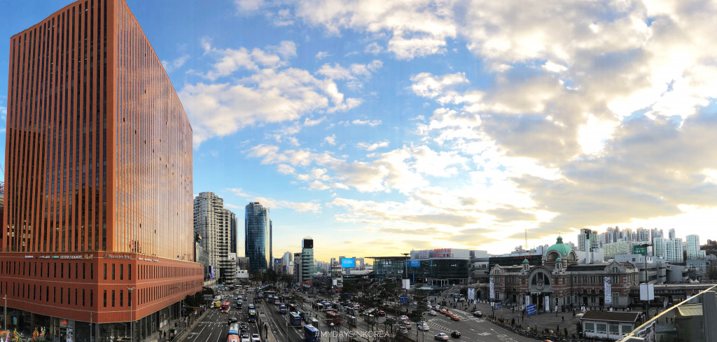 Seoul station, traffic, seoul square panorama